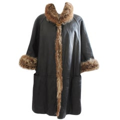 Bonnie Cashin Sills Reversible Black Leather and Raccoon Fur Coat 1960s