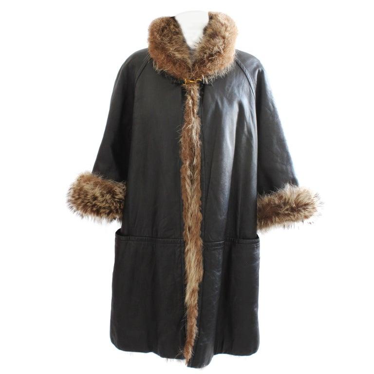Bonnie Cashin Sills Reversible Black Leather and Raccoon Fur Coat, 1960s
