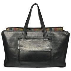 Bonnie Cashin XL Double Pocket Shopping Tote Black Leather Vintage 60s