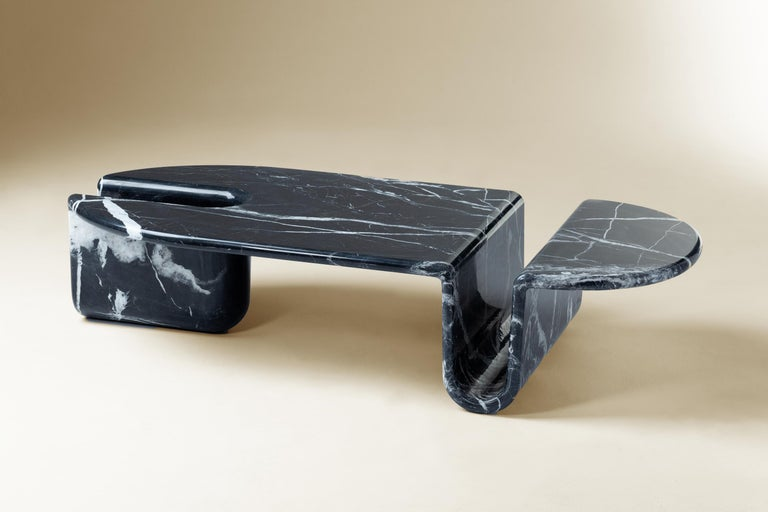 Bonnie & Clyde Nero Marquina marble center table by Dooq