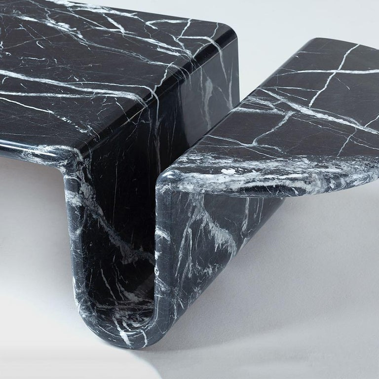 Portuguese Bonnie & Clyde Nero Marquina Marble Center Table by Dooq For Sale
