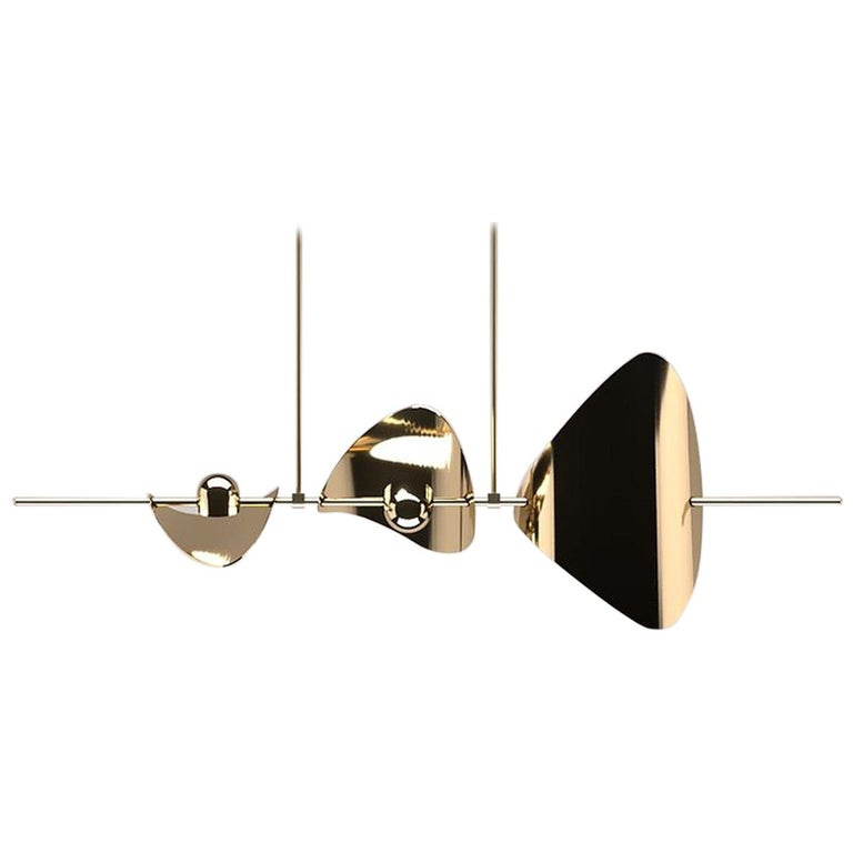 Bonnie Config 3 Contemporary LED Chandelier, Solid Brass or Chromed, Large, Art For Sale