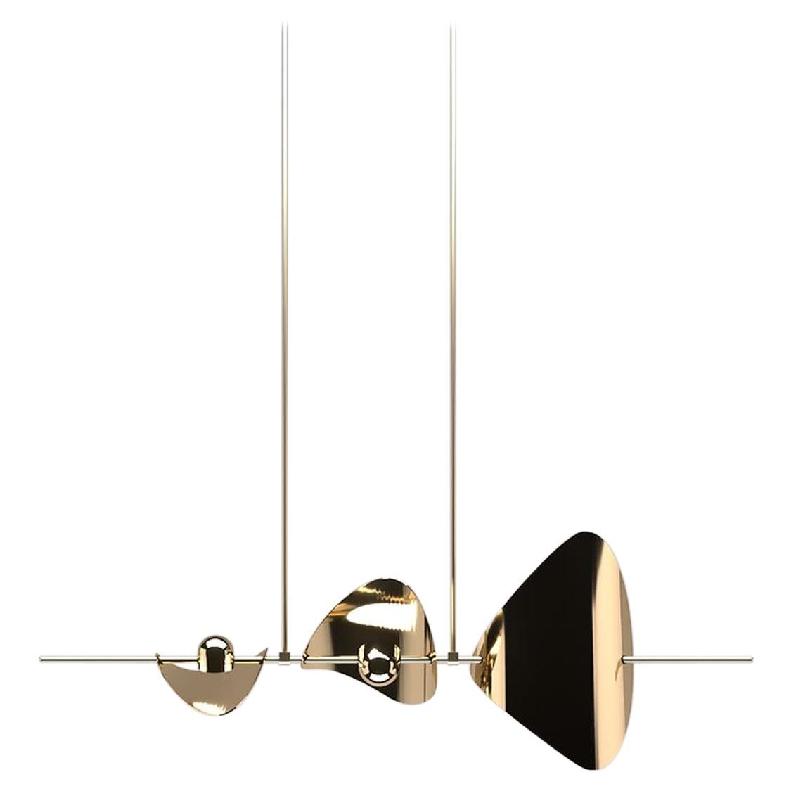 Bonnie Config 3 Contemporary LED Chandelier, Solid Brass or Chromed, Small, Art