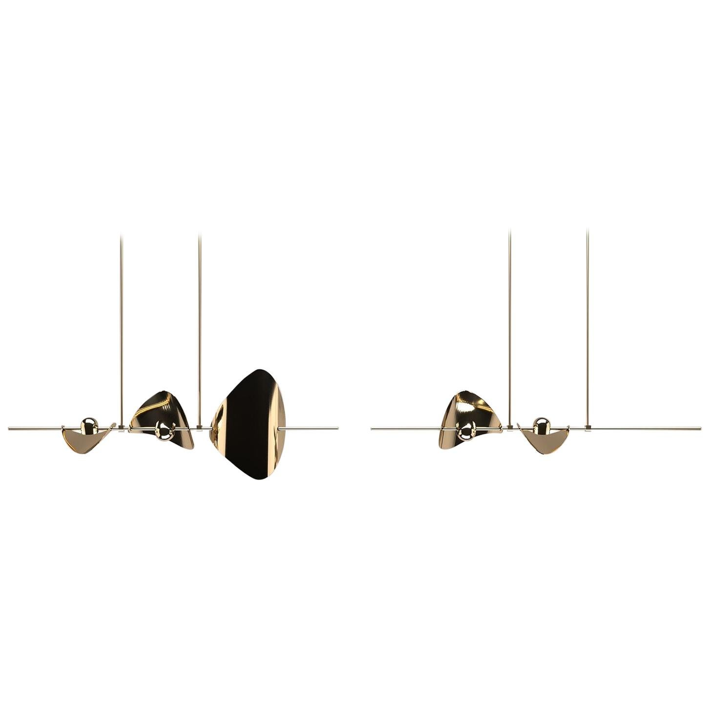 Bonnie Config. 4 Contemporary LED Chandelier, Solid Brass or Chromed, Handmade