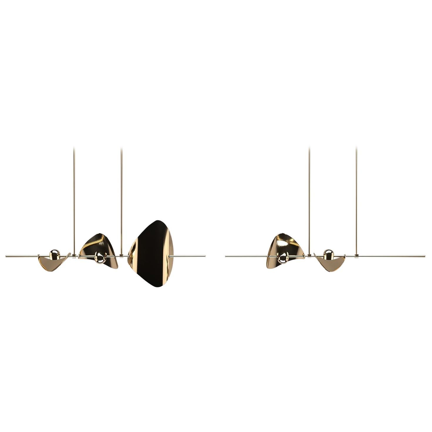Bonnie Config. 4 Contemporary LED Chandelier, Solid Brass or Chromed, Small
