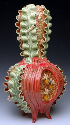 """Vase Form"", Contemporary, Ceramic, Sculpture, Glass Accents, Colored Porcelain"