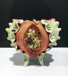 Contemporary Porcelain Sculpture with Glass Accents and Glaze, Ceramic Bowl