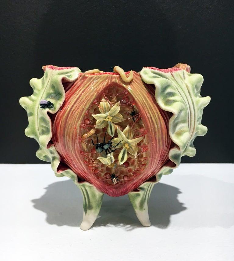 Bonnie Seeman Still-Life Sculpture - Contemporary Porcelain Sculpture with Glass Accents and Glaze, Ceramic Bowl