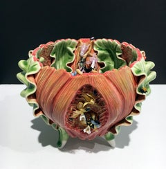 Contemporary Porcelain Sculpture with Glaze and Glass Accents, Surreal, Macabre