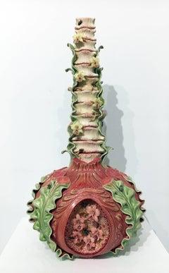 Large Contemporary Porcelain Sculpture with Glass Accents, Vase Form