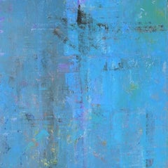 Abstract layered blue square painting, hints of yellow, large format