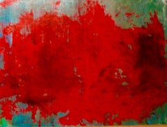 Flowers for a Strange World, abstract painting red and blue