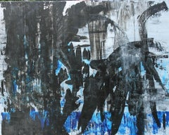 Jungle Mood, abstract expressionist painting black and blue