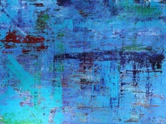 Abstract layered blue rectangular painting , hints of yellow, Still Night