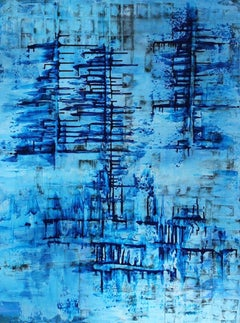 Bonnie Star Abstract Layered Blue Rectangular Painting