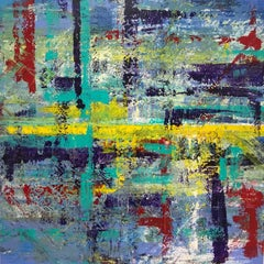 Understanding Nature, abstract layered blue square painting with red and yellow