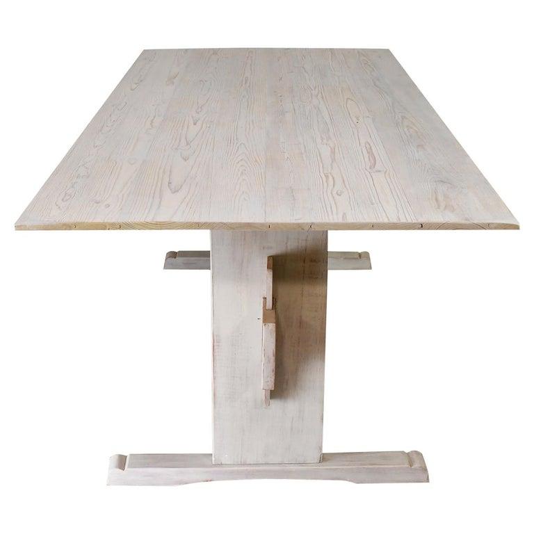 Bonnin Ashley Custom-Bench Made Scandinavian Inspired Trestle Dining Table For Sale