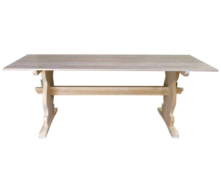 "Gustavian Bonnin Ashley Custom Made ""Thorvald"" Dining Table in Repurposed European Pine For Sale"