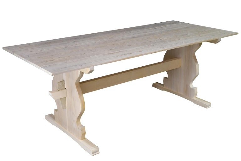"""American Bonnin Ashley Custom Made """"Thorvald"""" Dining Table in Repurposed European Pine For Sale"""