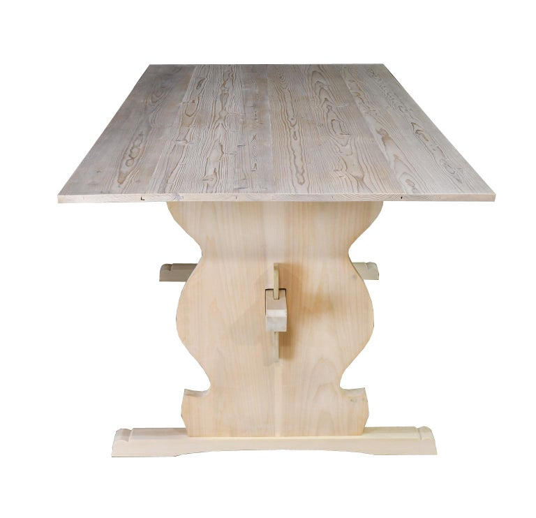 """Hand-Crafted Bonnin Ashley Custom Made """"Thorvald"""" Dining Table in Repurposed European Pine For Sale"""