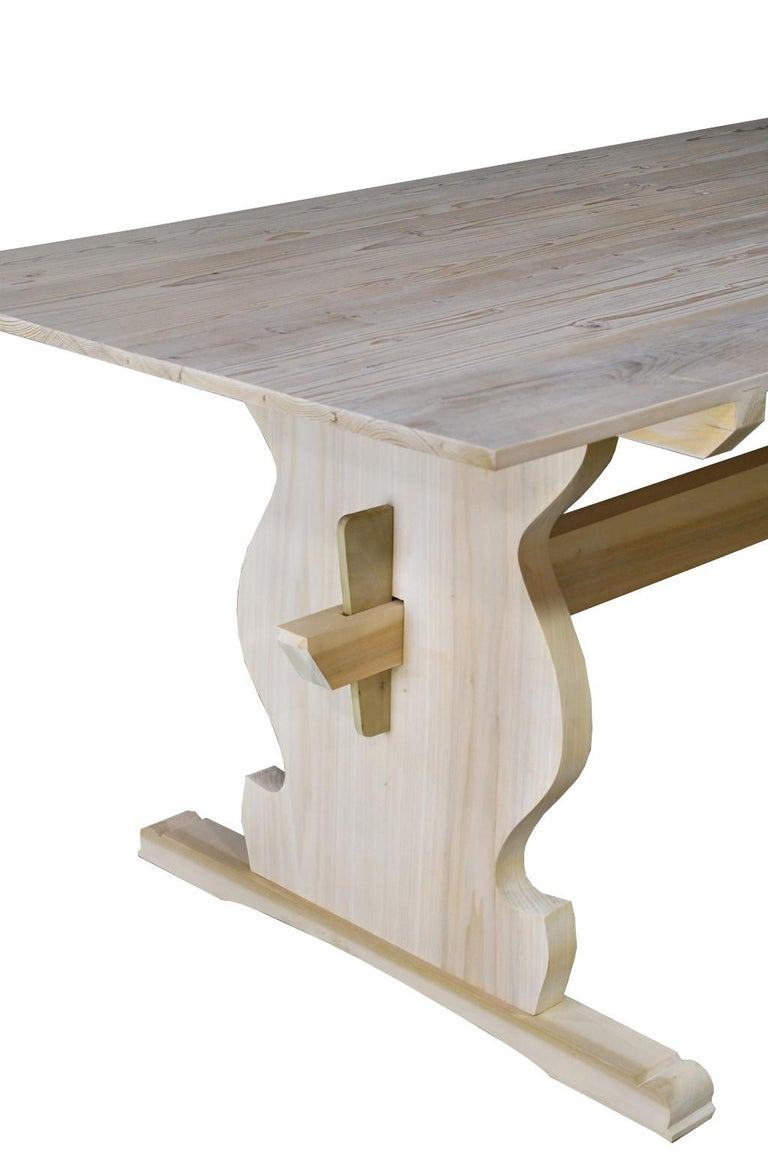 """Bonnin Ashley Custom Made """"Thorvald"""" Dining Table in Repurposed European Pine In New Condition For Sale In Miami, FL"""
