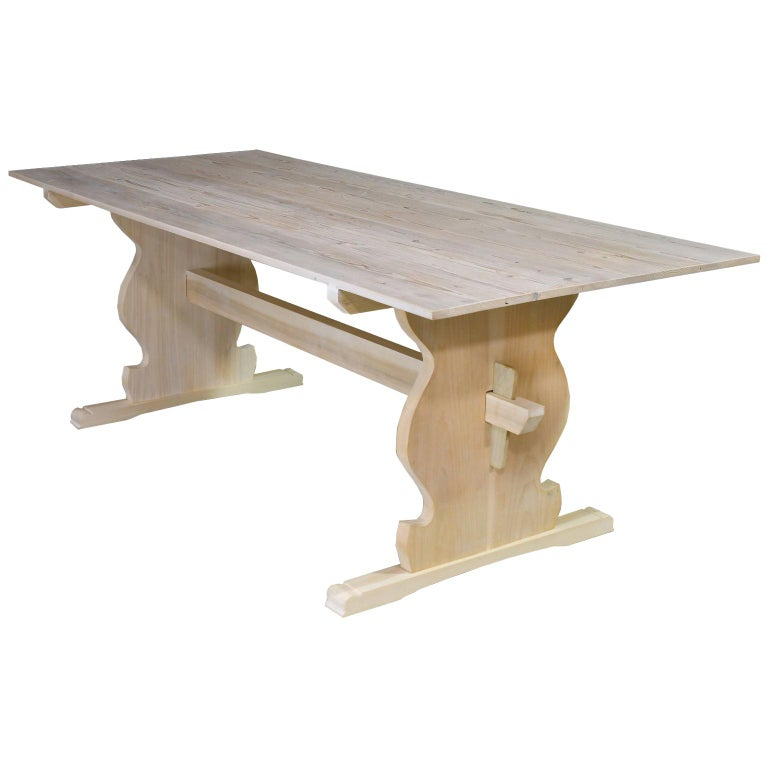 """Bonnin Ashley Custom Made """"Thorvald"""" Dining Table in Repurposed European Pine For Sale"""