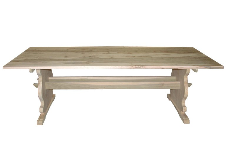 American Bonnin Ashley Custom Made Wood Scandinavian Dining Table with Natural Finish For Sale