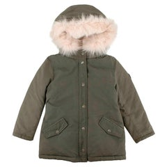 Bonpoint Khaki Fox & Rabbit Fur Trimmed Down Jacket  - 6 Years