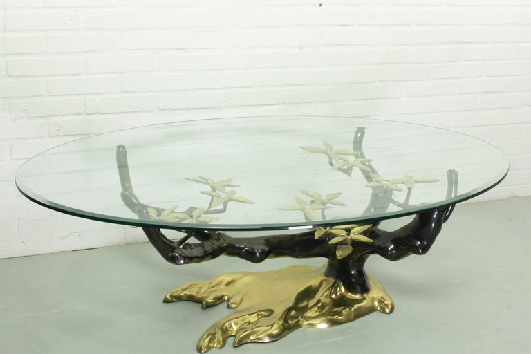 Hollywood Regency Bonsai Brass & Glass Coffee Table, Willy Daro, 1970s For Sale