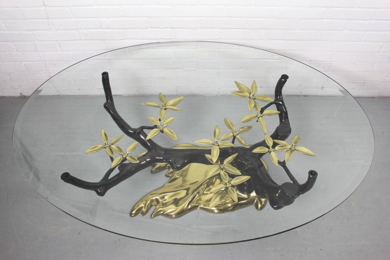 Bonsai Brass & Glass Coffee Table, Willy Daro, 1970s In Good Condition For Sale In Appeltern, Gelderland