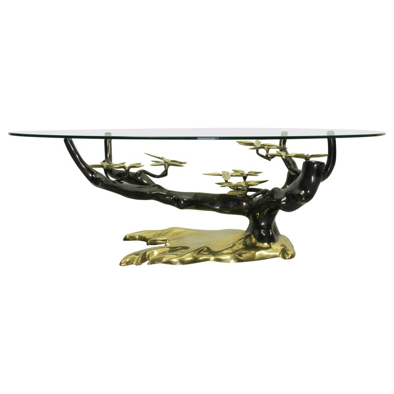 Bonsai Brass & Glass Coffee Table, Willy Daro, 1970s For Sale