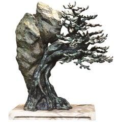 Bonsai Cast Bronze Sculpture in Verdigris Finish on Marble Base by Elan Atelier
