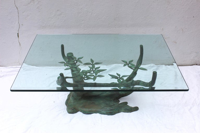 Willy Daro brass bonsai tree coffee table with beveled glass top  Base measures: 16.25