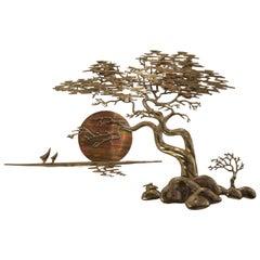 Bonsai Tree and Sunset Brass Sculpture by Bijan