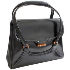 Bonwit Teller Leather Handbag with Bakelite Hardware Vintage 60s Made in Italy