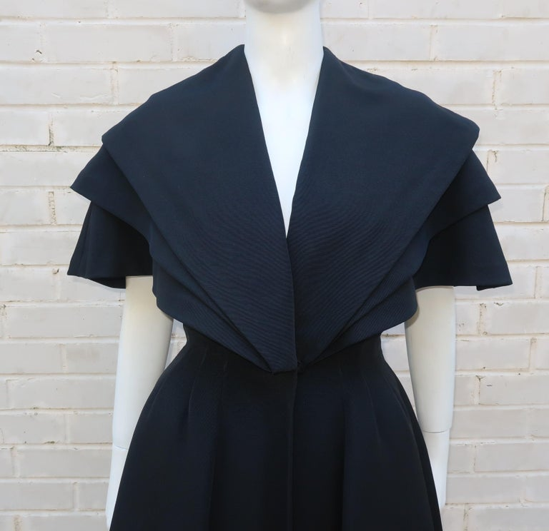 Bonwit Teller 'New Look' Black Silk Faille Evening Coat Dress, C.1950 In Good Condition For Sale In Atlanta, GA