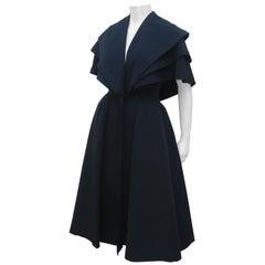 Bonwit Teller 'New Look' Black Silk Faille Evening Coat Dress, C.1950
