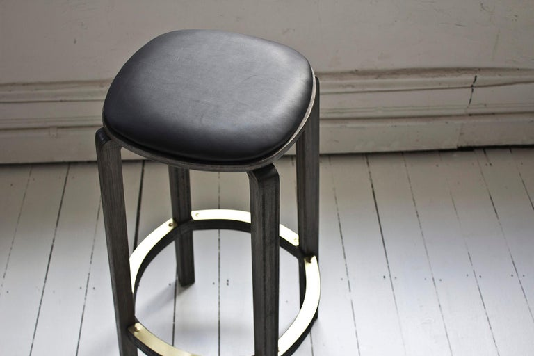 Admirable Boo Bar Stool Japan Black Bamboo Black Leather Cushion Brass Foot Rest Gmtry Best Dining Table And Chair Ideas Images Gmtryco