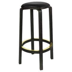 Boo Bar Stool, Japan Black Bamboo, Black Leather Cushion, Brass Foot Rest