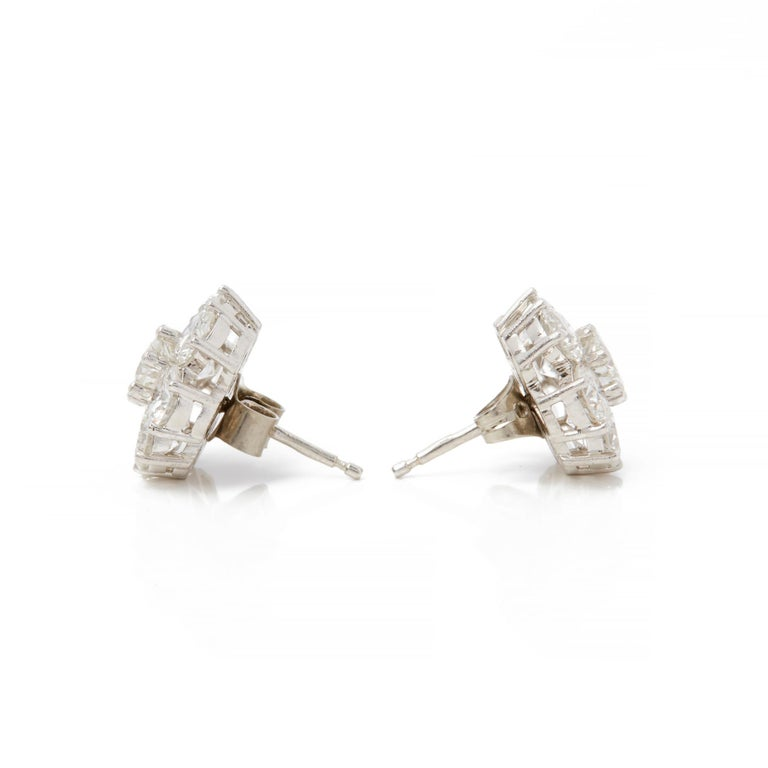 Round Cut Boodles 18 Karat White Gold Diamond Cluster Stud Earrings For Sale