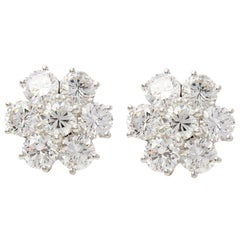 Boodles 18 Karat White Gold Diamond Cluster Stud Earrings