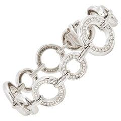 Boodles 18 Karat White Gold Round Brilliant Cut Diamond Medium Roulette Bracelet
