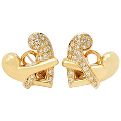 Boodles 18 Karat Yellow Gold Round Brilliant Cut Diamond Hug Earrings