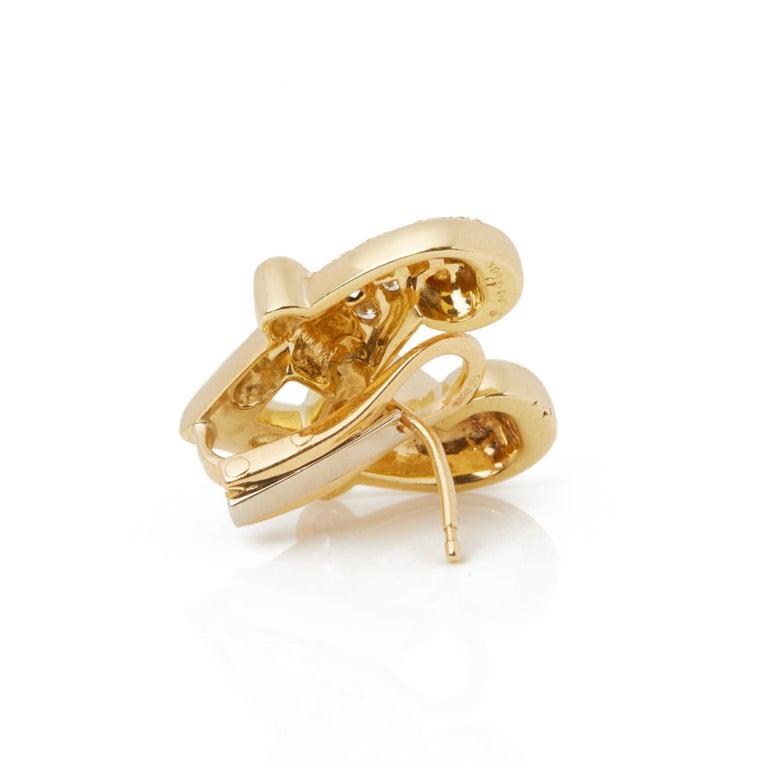 Women's Boodles 18 Karat Yellow Gold Round Cut Diamond Hug Earrings