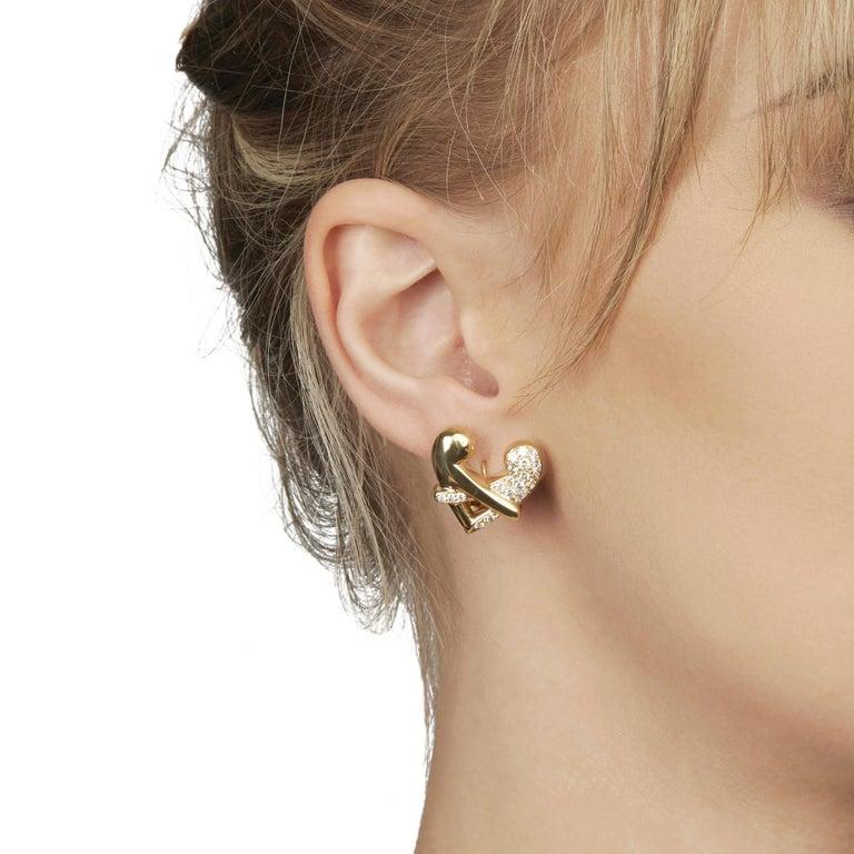 Boodles 18 Karat Yellow Gold Round Cut Diamond Hug Earrings 3