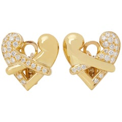 Boodles 18 Karat Yellow Gold Round Cut Diamond Hug Earrings