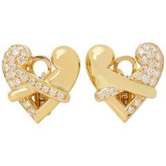 Boodles 18 Karat Yellow Gold Round Cut Diamond Hug Earrings