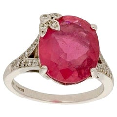 Boodles Pink Rubelite and Diamond Cocktail Engagement Ring in 18 Karat Gold
