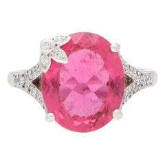 Boodles Pink Tourmaline and Diamond Floral Dress Ring Set in 18 Karat White Gold