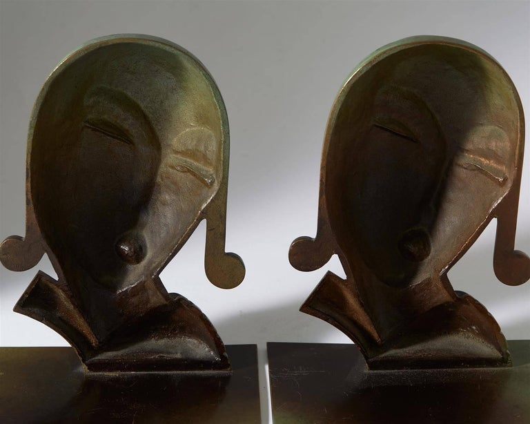 Swedish Book Ends, Designed by CE Borgström for Ystad Metall AB, Sweden, 1930s For Sale